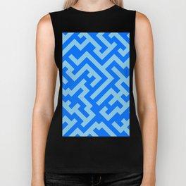Baby Blue and Brandeis Blue Diagonal Labyrinth Biker Tank