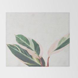 Pink Leaves III Throw Blanket