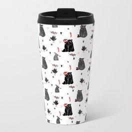 Christmas black and white animals Metal Travel Mug