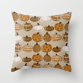 Pumpkin Party in Almond Throw Pillow