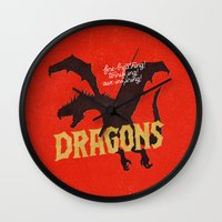 mother of dragons Wall Clocks featuring Dragons by WEAREYAWN