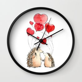 Hedgehogs in Love, illustration of hedgehog sweethearts with balloons. Wall Clock