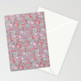 Peppermint Everything Holiday in Silver Gray Stationery Cards