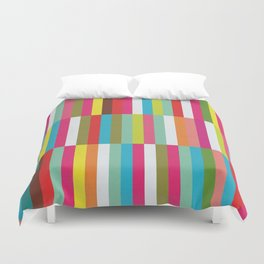 Bright Colorful Stripes Pattern - Pink, Green, Summer Spring Abstract Design by Duvet Cover