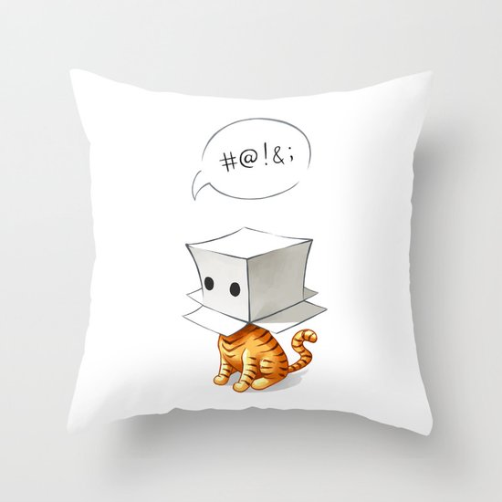 Cat in the Box 2 Throw Pillow