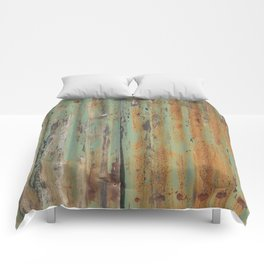 corrugated rusty metal fence paint texture Comforters