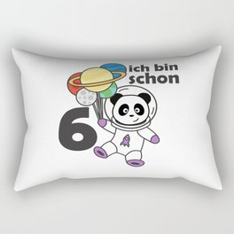 Panda Space Planet Six Years Old 6 Years Old Rectangular Pillow