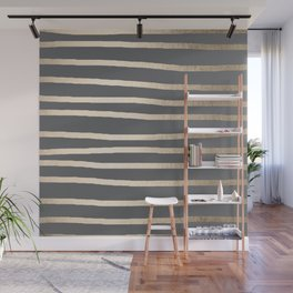 Simply Drawn Stripes White Gold Sands on Storm Gray Wall Mural