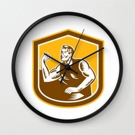 Arm Wrestling Champion Woodcut Shield Wall Clock
