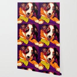 australian shepherd aussie dog puppy vector art late sunset Wallpaper