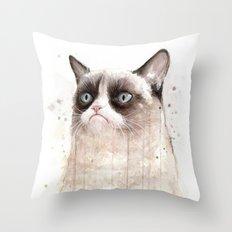 Grumpy Watercolor Cat Geek Meme Whimsical Animals Throw Pillow