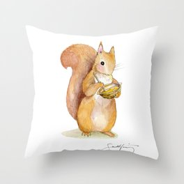 Hazelnut Squirrely Throw Pillow