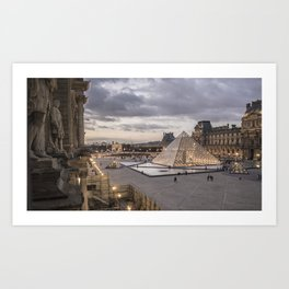 Sunset at the Louvre, Paris Art Print