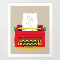 typewriter Art Prints featuring Typewriter by EinarOux