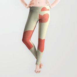 Red hearts watercolor paper texture Leggings