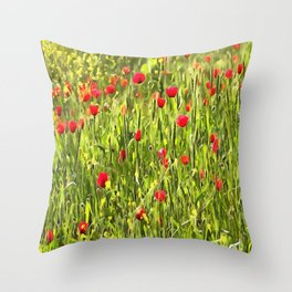 Flanders Poppies Throw Pillow