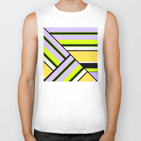 Striped , multi-colored , asymmetric combination pattern . Patchwork . Biker Tank
