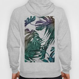 Tropical Palm Leaves on Marble Hoody