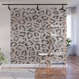 Trendy blush rose gold black glitter leopard animal print Wall Mural