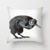kiwi Throw Pillows featuring Kiwi by Laura Usowski