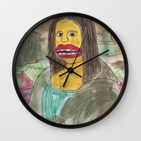 mona lisa Wall Clocks featuring Mona Lisa by GOONS