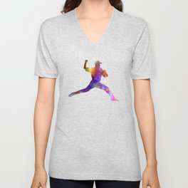 Baseball player throwing a ball Unisex V-Neck