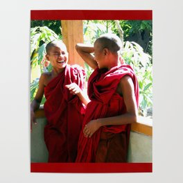 Laughter at th Monastey, Myanmar Poster