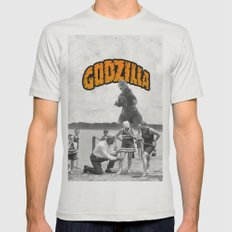 godzilla  Mens Fitted Tee Silver SMALL