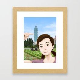 Fern Selfie with Taipei 101 Framed Art Print