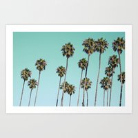 palm trees Art Prints featuring Palm Trees by Mareike Böhmer Photography