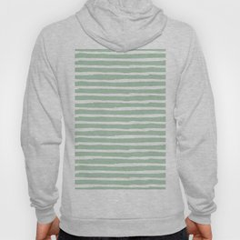 Elegant Stripes Pastel Cactus Green and White Hoody