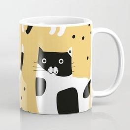 Cute Black & White Spotted Cats Yellow Background Seamless Pattern Coffee Mug