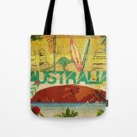 australia Tote Bags featuring Australia by LilianaPerez