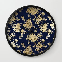 Elegant vintage navy blue faux gold flowers Wall Clock