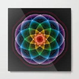 Sacred Rainbow Mandala Metal Print