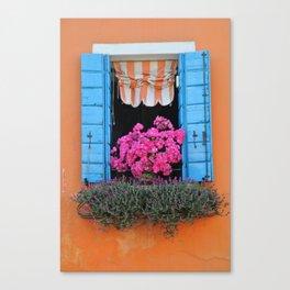 Orange Burano Window Canvas Print