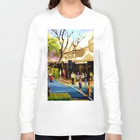 cafe Long Sleeve T-shirts featuring Sidewalk Cafe by Helen Syron