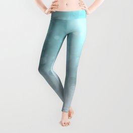 Aqua Turquoise Grey Soft Gradient Bokeh Lights Leggings