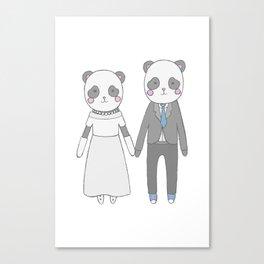 Wedding pandas, white background Canvas Print