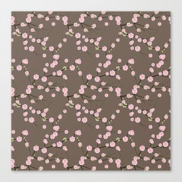 Pink Cherry Blossom Branches on Taupe Canvas Print