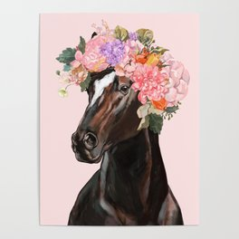 Horse with Flowers Crown in Pink Poster