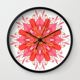 warm colors mandala art Wall Clock