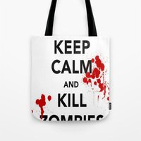 zombies Tote Bags featuring ZOMBIES by Tania Joy
