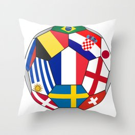 Football ball with various flags - semifinal and final Throw Pillow
