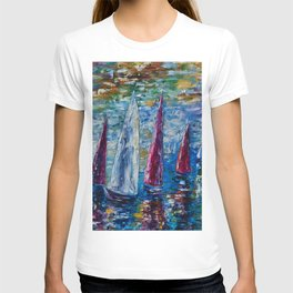 Sails To-night oil painting with Palette Knife T-shirt