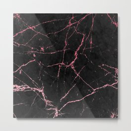 Rose Gold Glitter and Black Marble Metal Print