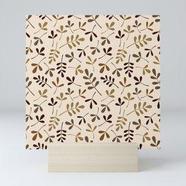 Assorted Leaf Silhouettes Gold Browns Cream Ptn Mini Art Print