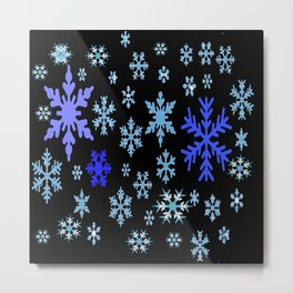 BLUE & PURPLE WINTER  SNOWFLAKES HOLIDAY ON BLACK Metal Print