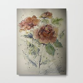 watercolor Rose #6 Original Painting by OLena Art Metal Print