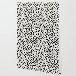 Polka Dots Dalmatian Spots Black And White Wallpaper